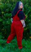 run & fly Red corduroy leopard print dungarees made in England Zoe Melissa Mae alternative plus sized model