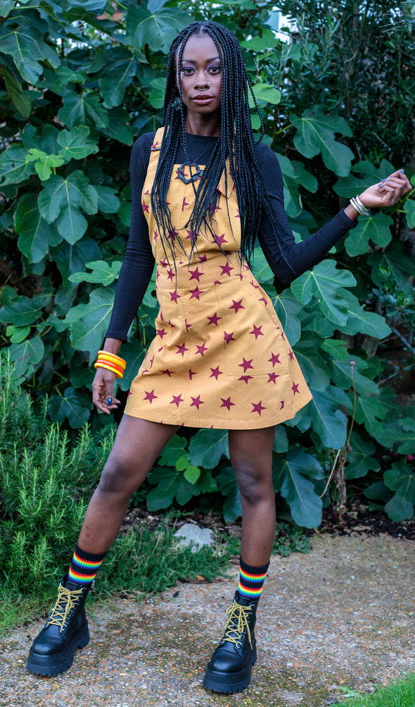 Gold Stretch Twill Star Print Pinafore Dress