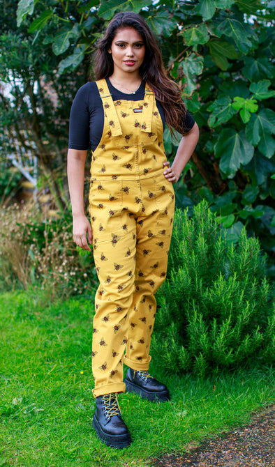 Bees Knees Gold Stretch Twill Dungarees