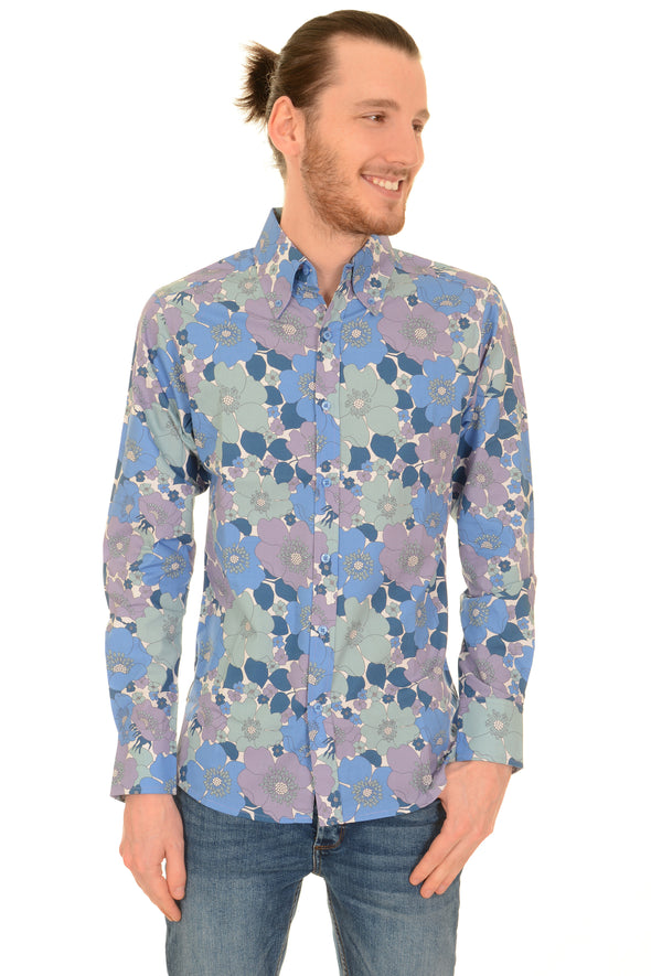 Retro Blue Floral Button Down Long Sleeve Shirt