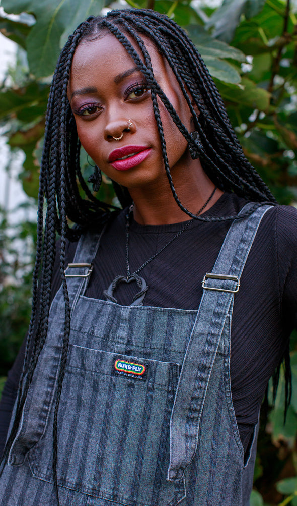 Black Stone Wash Stripe Baggy Stretch Denim Dungarees