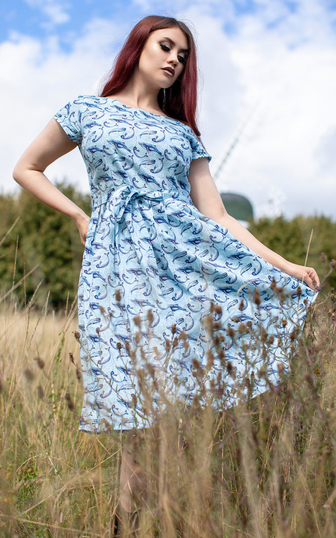 Narwhals and Whales Belted Tea Dress