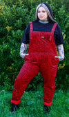 run & fly Red corduroy leopard print dungarees made in England