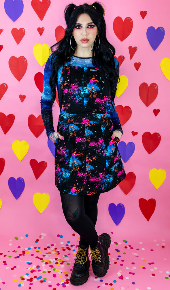 Black Galaxy Print Pinafore Dress