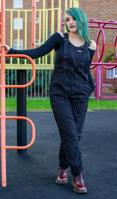Black & White Pin Stripe Stretch Twill Dungarees