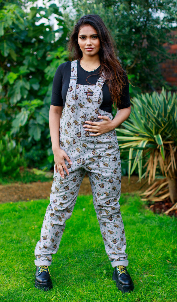 Twill Grey Baggy Sloth Dungarees