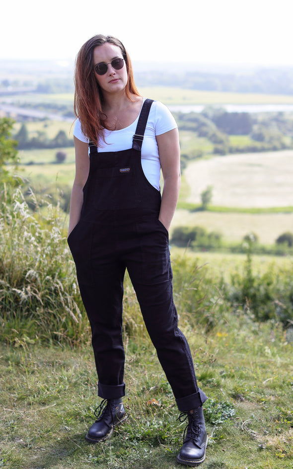 Black Denim Baggy Dungaree Overalls