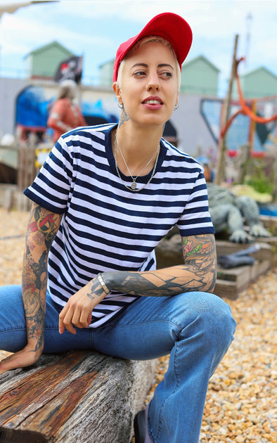 Navy Blue Stripe Short Sleeve T Shirt