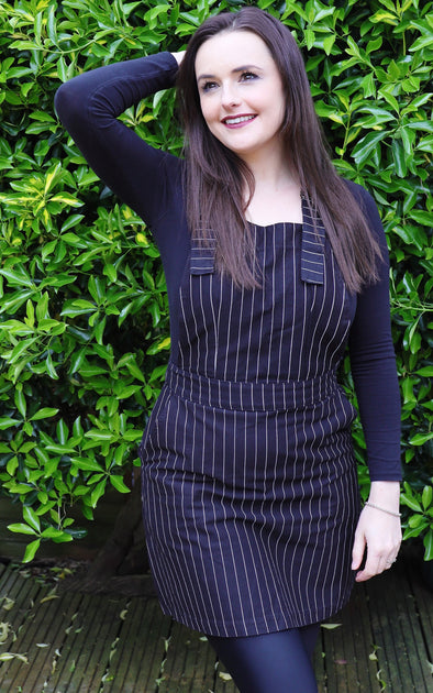 Black Pinstripe Cotton Twill Pinafore Dress