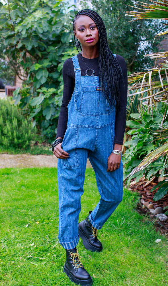Blue Stone Wash Stripe Baggy Stretch Denim Dungarees
