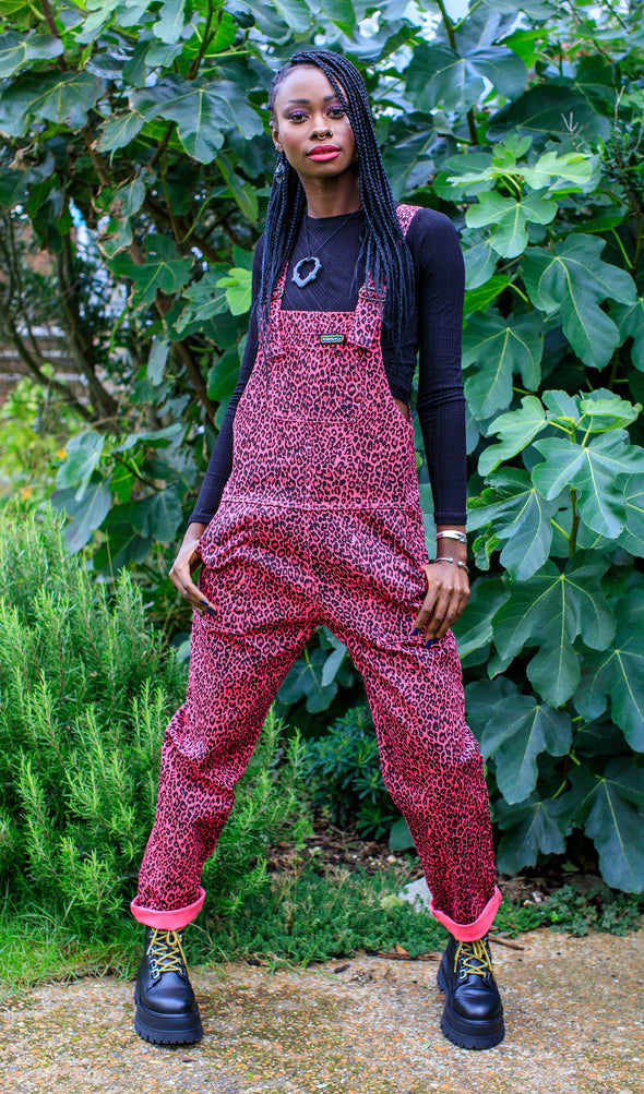 Pink Leopard Print Stretch Twill Dungarees