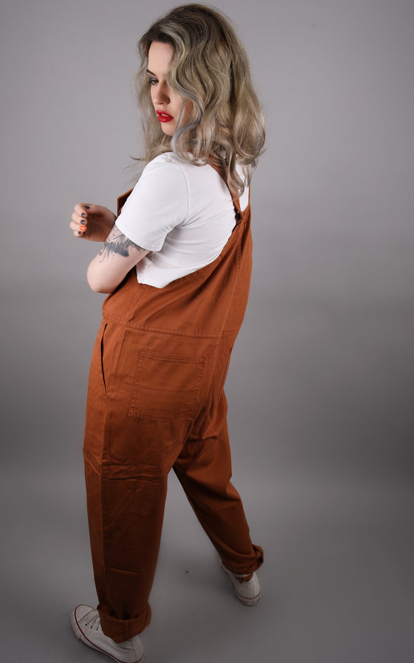 Cookie Brown Baggy Dungaree Overalls