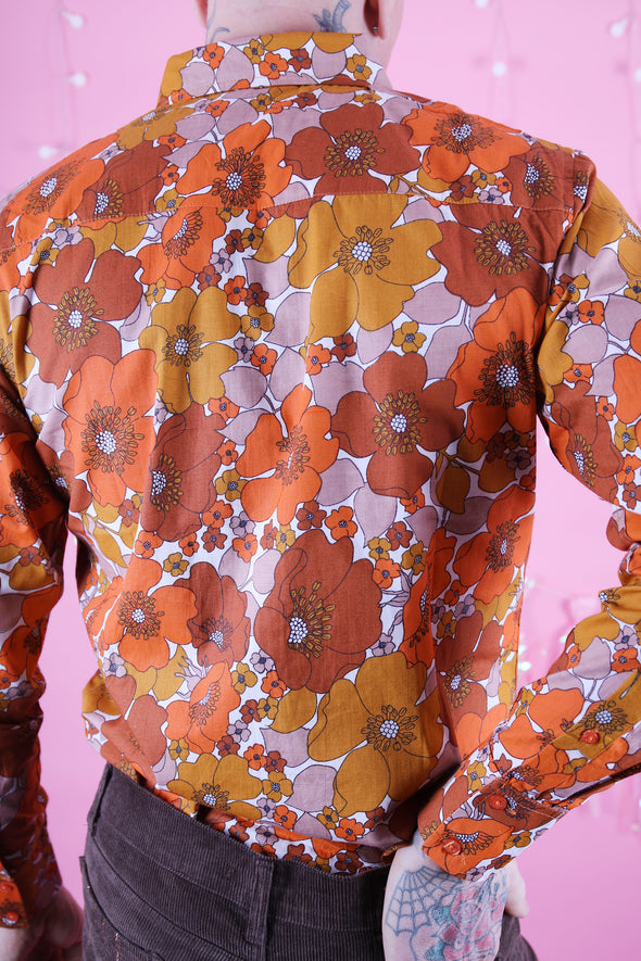 Burnt Orange Floral Button Down Long Sleeve Shirt