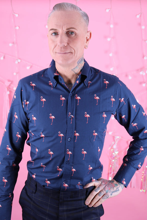 Flamingo Print Long Sleeve Shirt