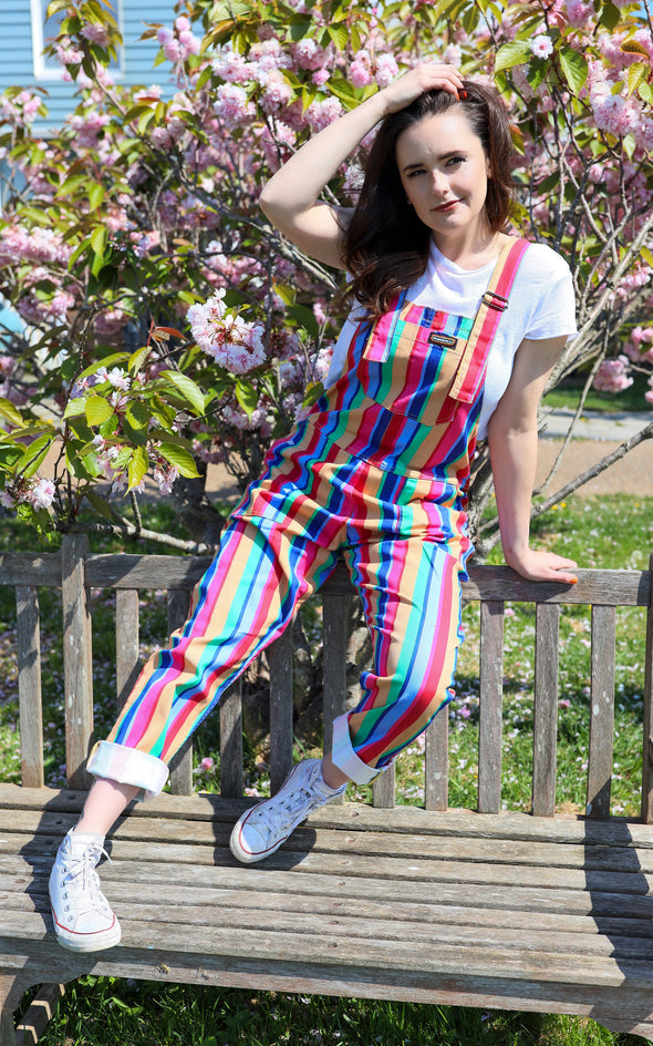 Bright Stripe Rainbow Stretch Twill Dungarees