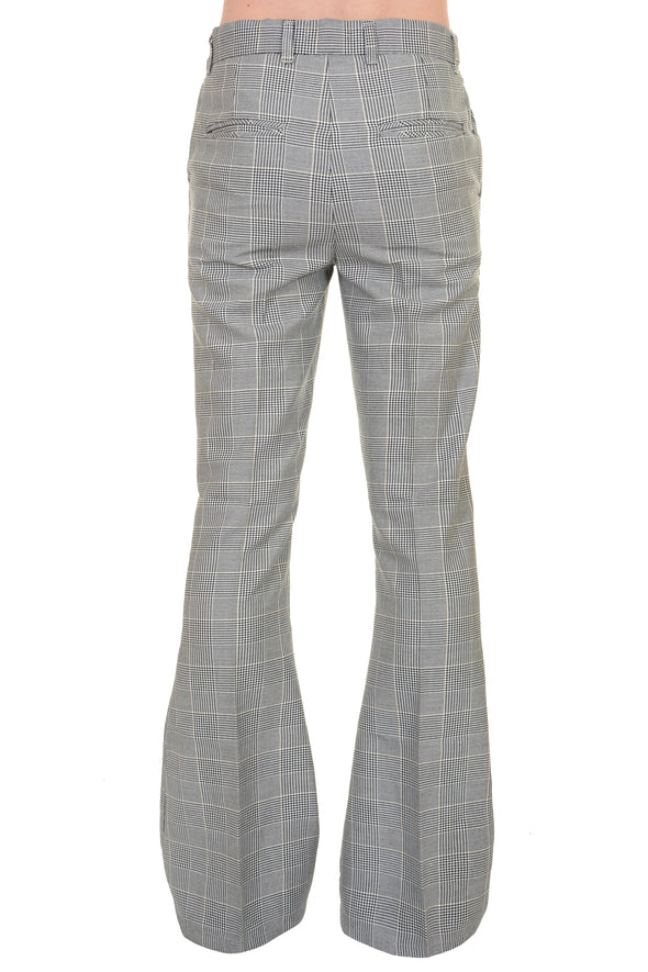 Presley Prince Of Wales Check Bell Bottom Trousers