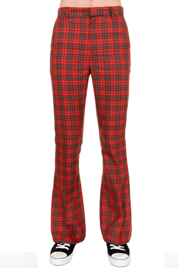 Retro Red Royal Stewart Tartan Plaid Bell Bottom Trousers