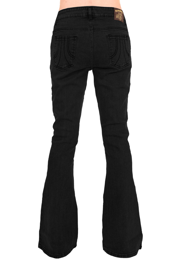 Black Stretch Denim Rock N Roll Bell Bottom Flares