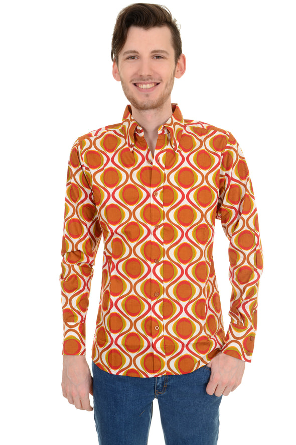 Retro Mod Geometric Psychedelic Printed 70's Shirt