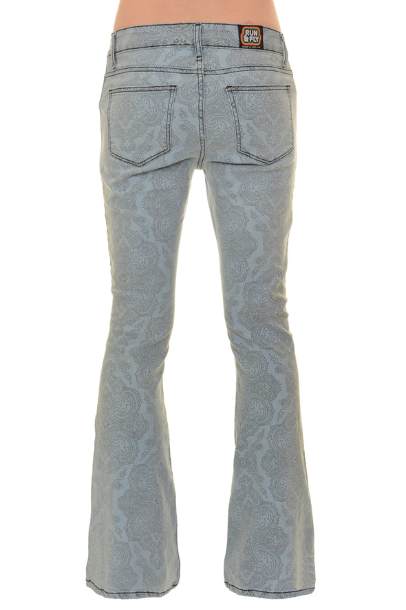Retro Stretch Stone Bleach Denim Hendrix Paisley Bell Bottom Flares