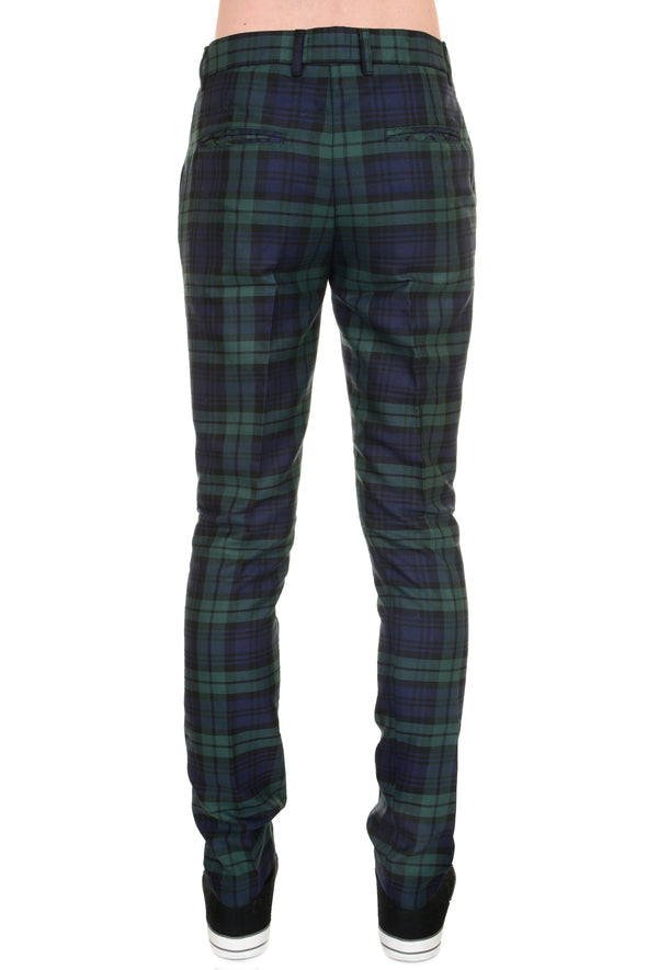 Retro Mod Stretch Black watch Tartan Trousers