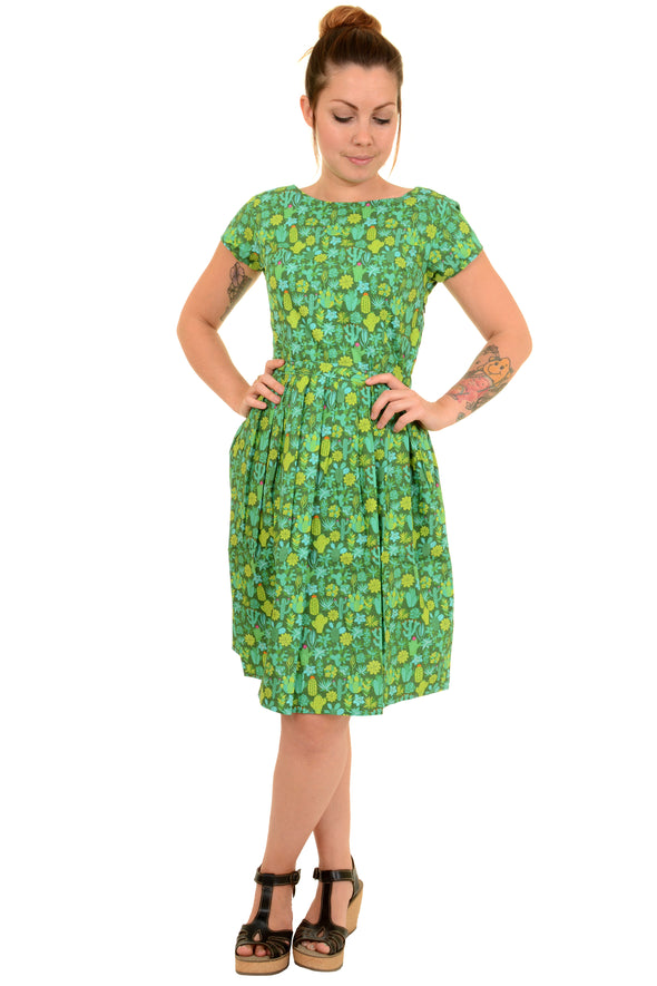 Green Blooming Cacti Tea Party Dress