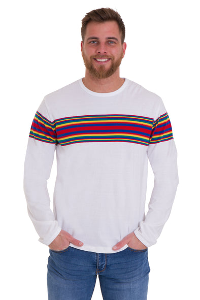 Retro Rainbow Engineered Striped Long Sleeve T Shirt