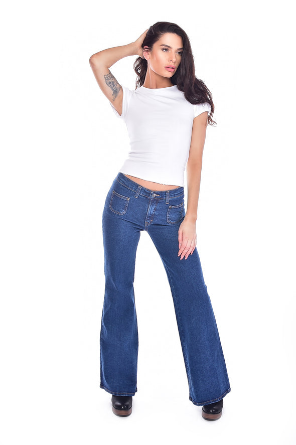 Stonewash Blue Stretch Denim Bell Bottom Wide Leg Hippy Flares