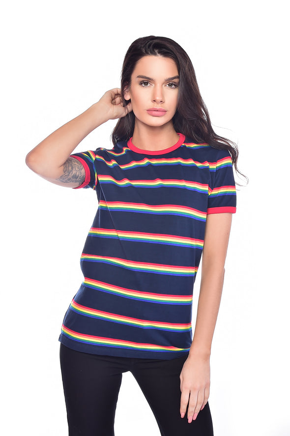 Retro Rainbow Block Striped T Shirt