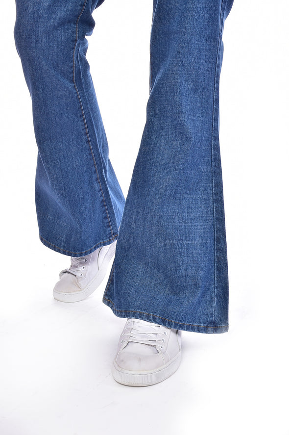 Run & Fly mens unisex blue jeans flares bell bottoms 70's made in England