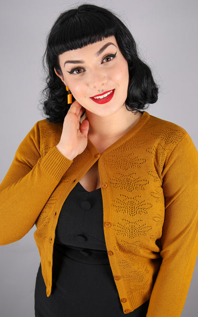 Mustard Bee Pointelle Cardigan
