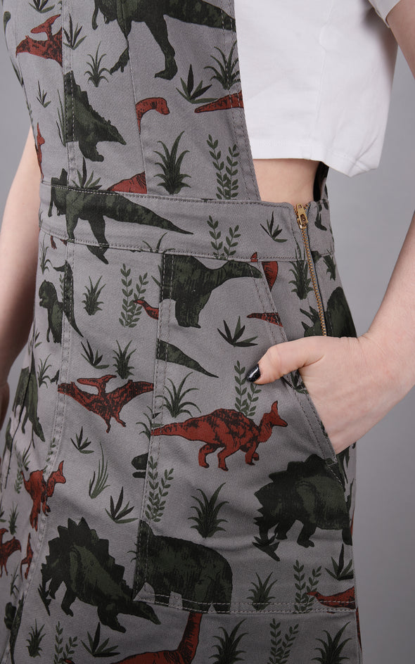 Alice is wearing grey dinosaur pinafore dress by Run and Fly. You can see the lockable zip on the side