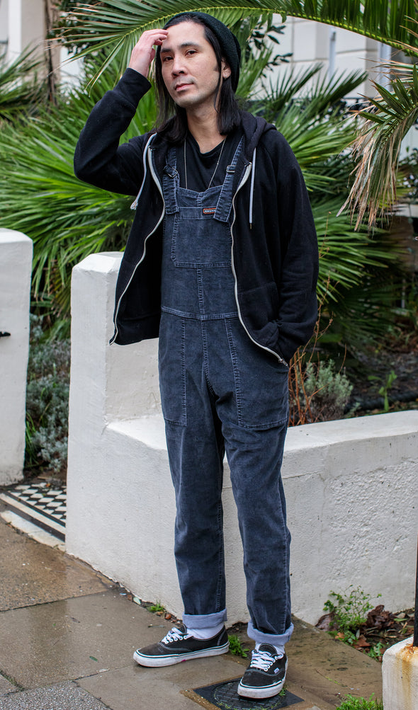 Black Charcoal Stretch Corduroy Oversized Baggy Dungarees