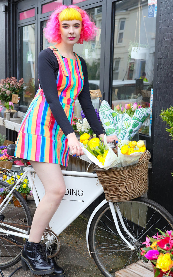 Rainbow Striped Pinafore Dress