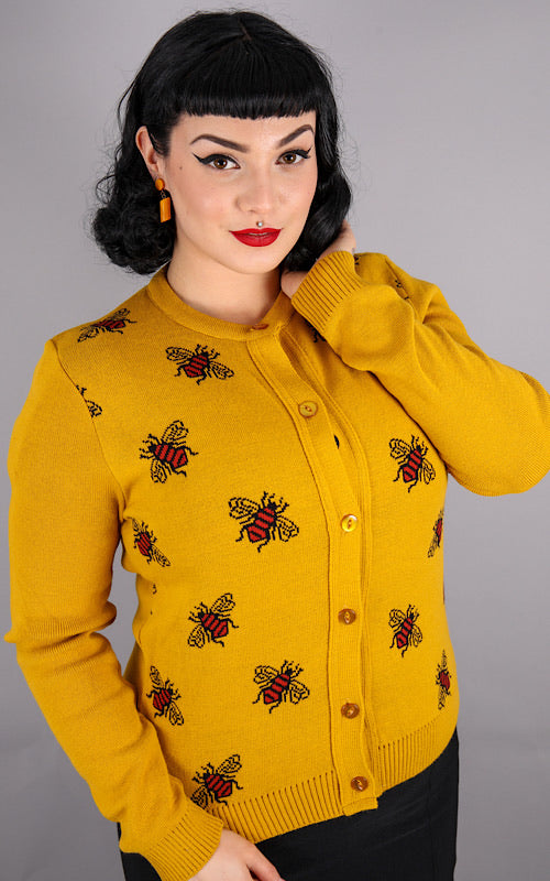 Mustard Gold 80s Honey Bees Cardigan