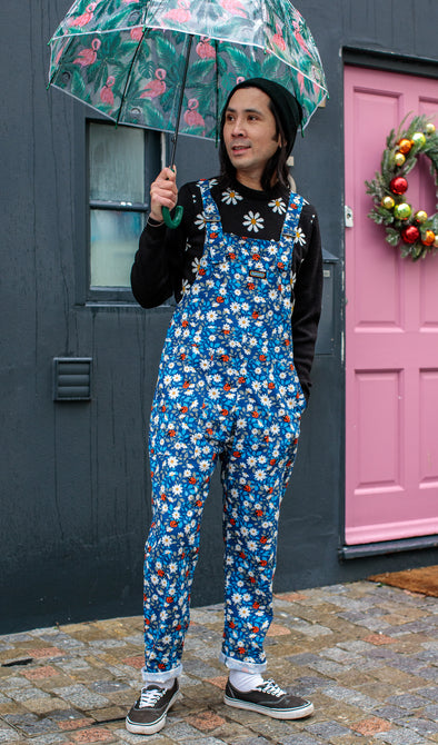 Retro Daisy and Ladybird Stretch Twill Dungarees