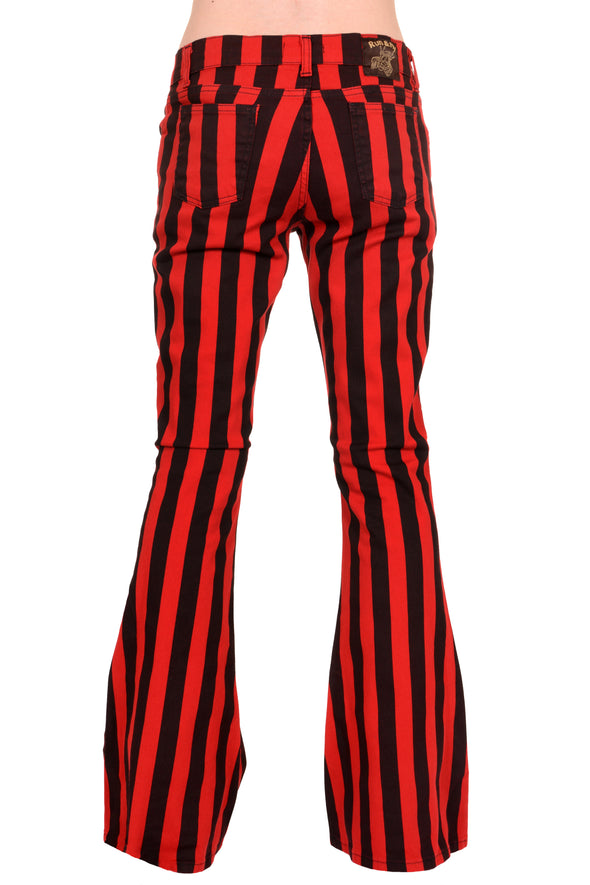 Red & Black Striped Bell Bottom Stretch Super Flares