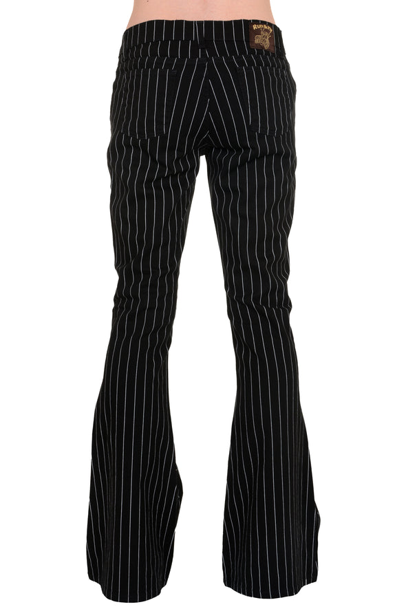 Black & White Pin Striped Bell Bottom Stretch Flares