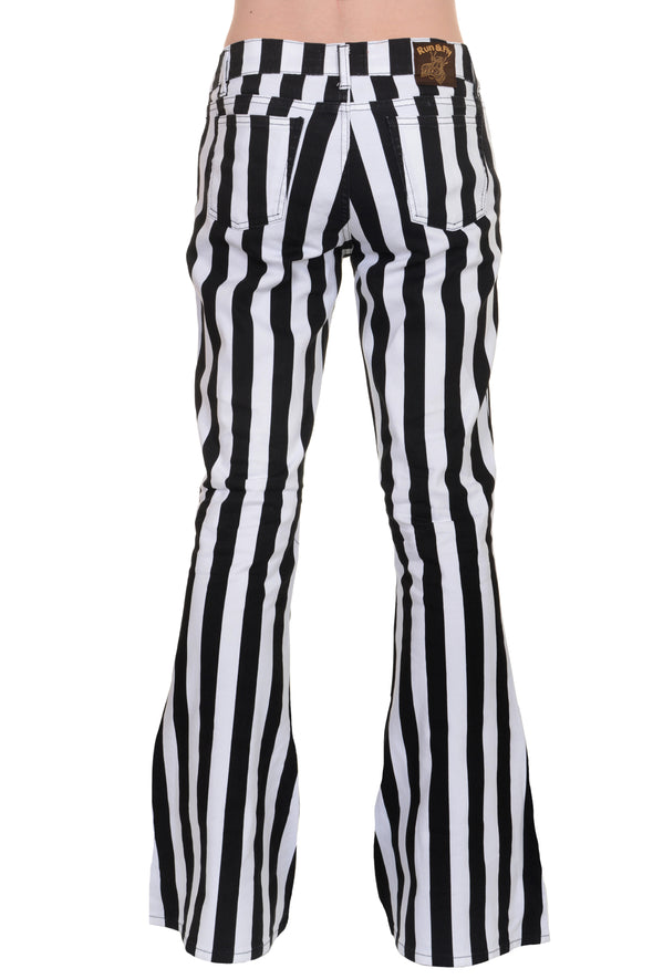 Black & White Striped Bell Bottom Stretch Super Flares