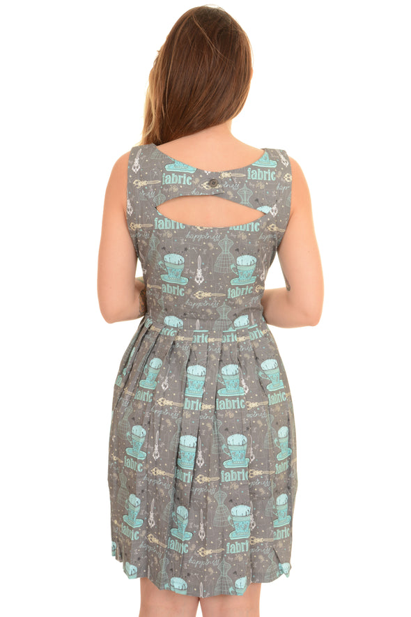 Retro Fabric Mannequin Pleated Tea Dress