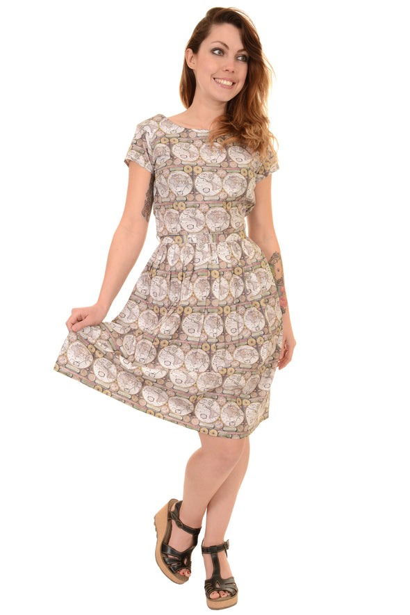 Vintage World Map Tea Party Dress
