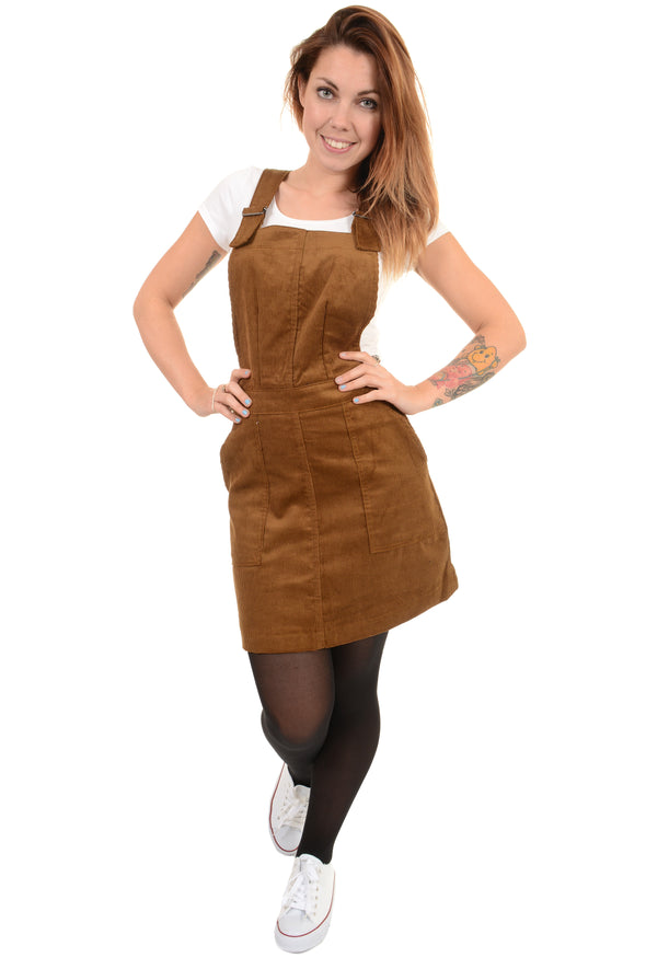 Tan Tobacco Corduroy Pinafore Dress