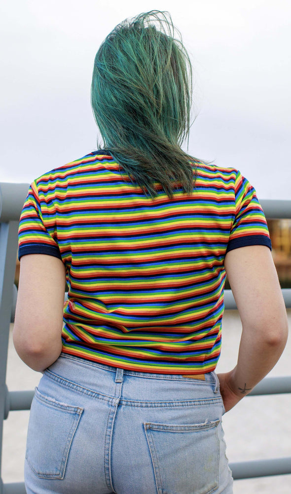 Rainbow Brights Repeat Striped Cropped T Shirt