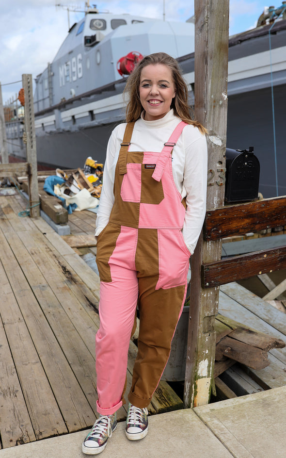 Two Tone Pink & Rust Baggy Dungaree Overalls