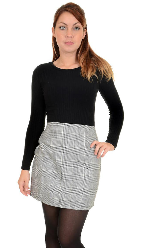 Retro Black & White Prince Of Wales Mini Skirt