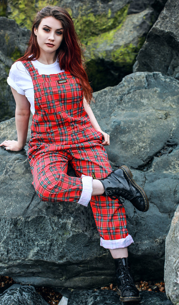 Red Tartan Stretch Twill Dungarees