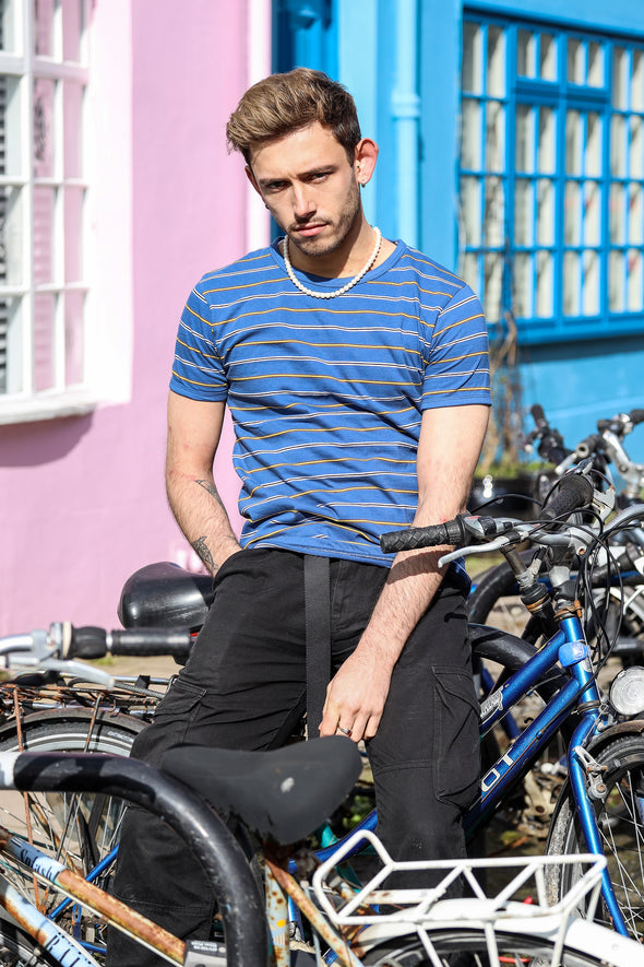 Retro Cobalt Blue Pin Striped T Shirt