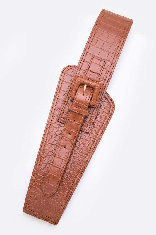 Iconic Croc Effect Stretch Belt - Kloset Kemistry