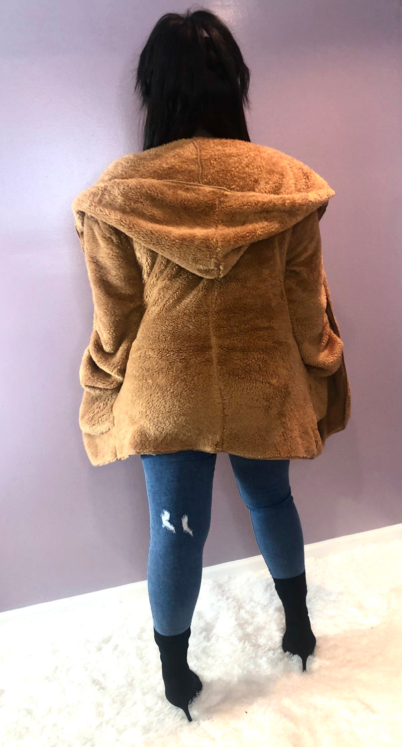 Faux Fur Hooded Teddy Jacket - Kloset Kemistry