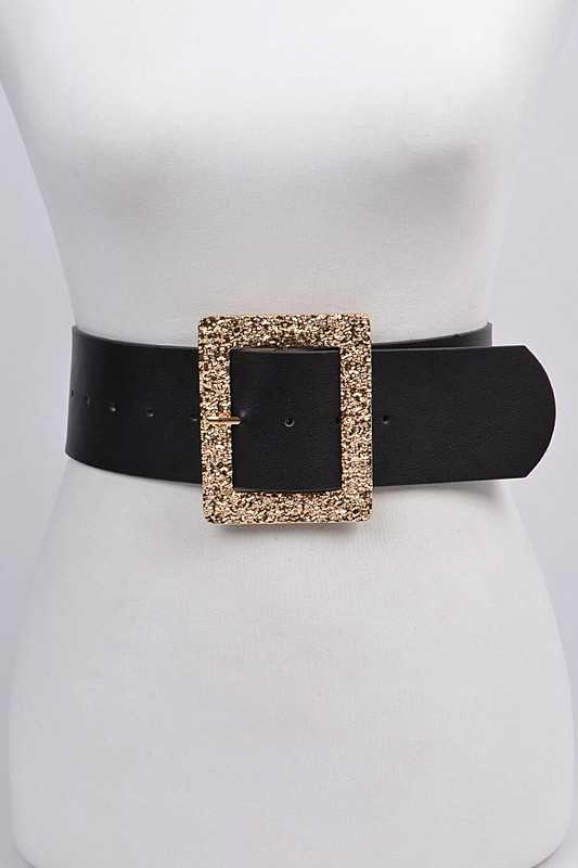 Gold Glitter Rectangle Belt - Kloset Kemistry